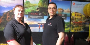 Wendy Wu's Ness Hibbard and Paul Dymond at Flight Centre Expo in Auckland over the weekend