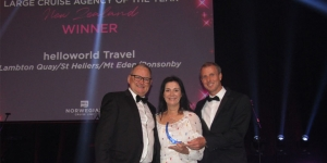 Bruce Blacklock and Mel Watson, helloworld Travel Lambton Quay, St Heliers, Mt Eden, Botany were presented with the Large Cruise Agency of the Year New Zealand title by Ben Angell, NCL