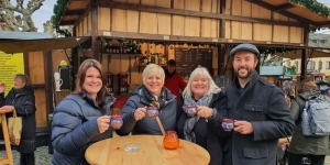 Cruise Industry Awards finalist Kay Humphries enjoys gluhwein in Heidelberg with Jackie Bell, Edie Swney, both The Travel Brokers; and Brett Simon, Globus family of brands. The group was sailing on the Avalon Panorama.