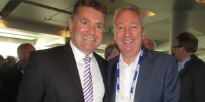 Cam Wallace, Air New Zealand; Patrick Whelan, Qantas Airways catching up at the CAPA Centre for Aviation Summit this week