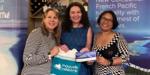 The New Caledonia – TMG lunch update was held at Maison Vauron yesterday. Dring the get together Tori Keating (centre) from Queenstown won a flight ticket Auckland to Noumea offered by Aircalin; presented by Sally Peppermans, New Caledonia Tourism and Vanessa Tjemplon, Aircalin