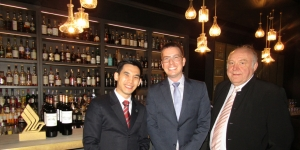 Chek Leng, air sommelier; Simon Turcotte, general manager New Zealand with Singapore Airlines; Hermann Freidanck, food and beverage manager at Coley & Punch last night