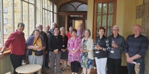 The Wendy Wu group on tour (with guide Lisa Anthony on the left) at a  Trust the Chef four course meal at Larnach Castle.