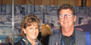 Jeff Leckey at the recent Cruise 360 Conference in Sydney with Loretta Abernethy, Destination HQ