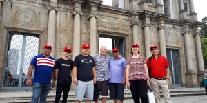 At the iconic Ruins of St Paul's in Macao – Yogesh Batra, Exotic Holidays; Jacob Iwikau, Scenic Tours; Stephen Cao Acrossia/Worldway Holidays; Richard Froggatt MGTO – escort for the trip; Jay Soysa, Fathom Asia; Kim Robertson, Inter Asia Tours; and Sam Chen, Helen Wong's Tours