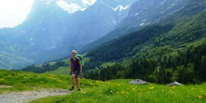 Walking in the Bernese Oberland is with a back drop of the 'Big 3'