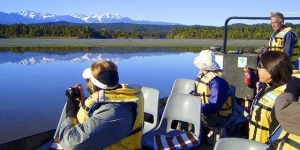 MoaTours' Southern Beauty tour includes a nature cruise on Okarito Lagoon, West Coast
