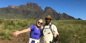 Scenery that's worth the walk…Jill Grant, A Walker's World with guide Zweli Hlongwane, Just Hike it Drakensberg Tours, who also offers cave painting tours