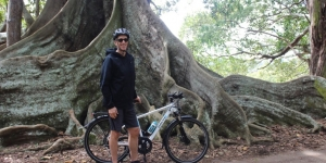Kelvin Mulholland, Norfolk Island Fitness & Health takes a break at the island's Moreton Bay fig trees
