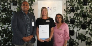 Pacific Destinations managing director James Sowane at the DMS workshop yesterday with Momento's Stephanie Field, who won accommodation and activities in Fiji in a business card draw; and Marissa Fernandez, managing director DMS Destination Marketing Services