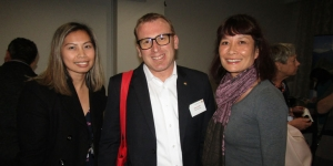 Mai Garcia and Winnie Fong, both GO C&I; with Andreas Nef, Swiss Travel System