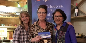 Aircalin gave away a ticket to New Caledonia at the NZ Travel Brokers lunch. The lucky winner Sandra Ivelja (centre) from SO Travel, pictured here with Sally Pepermans, New Caledonia Tourism and Vanessa Tjemplon, Aircalin