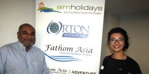 Jay Soysa, Fathom Asia; Amanda Vine, Flight Centre Rangiora at JAWS Plus in Christchurch this week