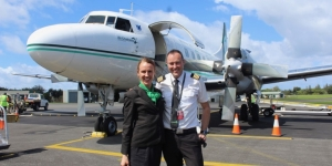 Air Chathams flight attendant Kaylee Morrison and pilot Duane Emeny on arrival at Norfolk Island on Friday