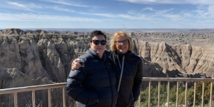 Jules Gerrard and Caroline Davidson, from Davidson Communications, the Australian and New Zealand representative for The Great American West at Badlands National Park, South Dakota