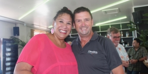 Felicity Bollen, Niue Tourism, with Rob Macready, travel&co at the launch of the Niue Pocket Guide in Auckland in February