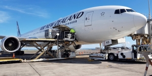 Air New Zealand's repatriation flight at the gate at Auckland Airport