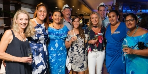 From left, Sonya Lawson, Tourism Fiji; Natalie Von Dinklage, House of Travel; Loretta St Julian Ooms, South Sea Cruises; Andy Corson, Mantaray Island Resort; Hannah Jones, South Sea Cruises; Sheryn Ambler, Fiji Airways; Gareth Waddington, GO Holidays; Ruzanne Keresoma, South Sea Cruises and Nikita Devi, South Sea Cruises