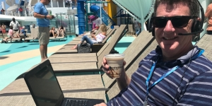 Always on the job… well, someone has to be – Jeff Leckey, Cruise Champion finalist and general manager cruise with House of Travel on Norwegian Bliss