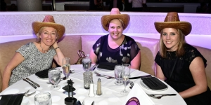 During the gala night in Las Vegas… Ali Sharp, Travel Managers Group Glen Eden; Rachael Barbera, Flight Centre Dural; Kendal Toebeck, Air New Zealand
