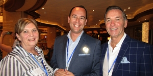 Let the ship inspection begin…Margaret Spiro, First Travel Group; Peter Tuki, Princess Cruises; David Libeau, helloworld